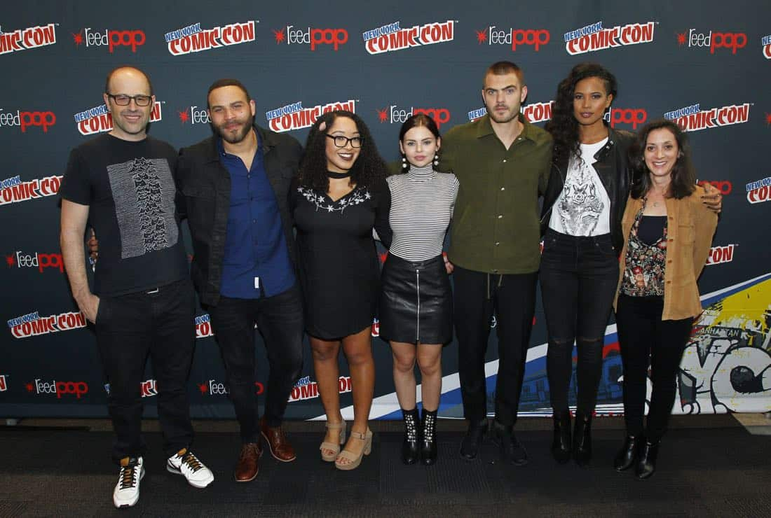 """NY COMIC-CON 2017 - SIREN - Freeform's genre programming was out in full force at this year's New York Comic Con on Saturday, October 7th with executive producers and cast from the hit series """"Shadowhunters,"""" """"Beyond,"""" and new original series """"Siren."""" (Freeform/Lou Rocco) ERIC WALD (EXECUTIVE PRODUCER), IAN VERDUN, ARIANA ROMERO (MODERATOR), ELINE POWELL, ALEX ROE, FOLA EVANS-AKINGBOLA, EMILY WHITESELL (EXECUTIVE PRODUCER)"""