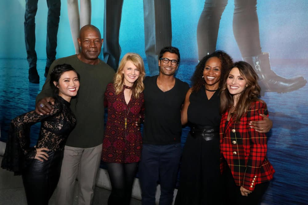 "NEW YORK COMIC CON -- ""Reverie"" -- Pictured: (l-r) Jessica Lu, Dennis Haysbert, Kathryn Morris, Sendhil Ramamurthy, Pearlena Igbokwe, President, Universal Television, Sarah Shahi -- (Photo by: Heidi Gutman/NBC)"
