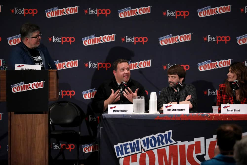 "NEW YORK COMIC CON -- ""Reverie"" -- Pictured: (l-r) Mickey Fisher and Tom Szentgyorgi, Executive Producers, ""Reverie""; Sarah Shahi -- (Photo by: Heidi Gutman/NBC)"