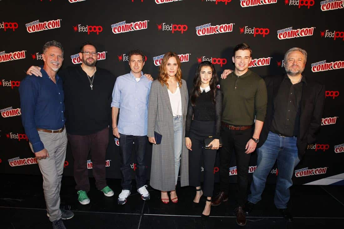 "NY COMIC-CON 2017 - Freeform's genre programming was out in full force at this year's New York Comic Con on Saturday, October 7th with executive producers and cast from the hit series ""Shadowhunters,"" ""Beyond,"" and new original series ""Siren.""  (ABC/Lou Rocco) TIM KRING (EXECUTIVE PRODUCER, BEYOND), DAMIAN HOLBROOK (MODERATOR), ADAM NUSSDORF (EXECUTIVE PRODUCER, BEYOND), EDEN BROLIN, DILAN GWYN, BURLEY DUFFIELD, DAVID EICK (EXECUTIVE PRODUCER, BEYOND)"