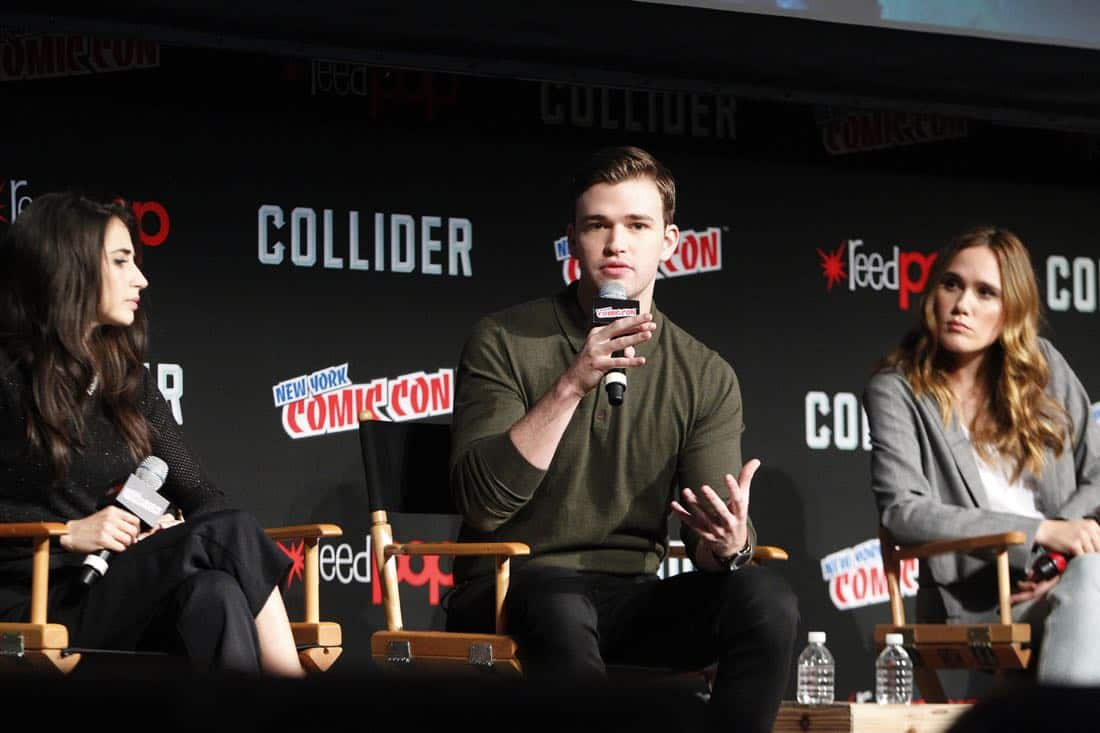 "NY COMIC-CON - BEYOND - Freeform's genre programming was out in full force at this year's New York Comic Con on Saturday, October 7th with executive producers and cast from the hit series ""Shadowhunters,"" ""Beyond,"" and new original series ""Siren.""  (Freeform/Lou Rocco) DILAN GWYN, BURKELYDUFFIELD, EDEN BROLIN"
