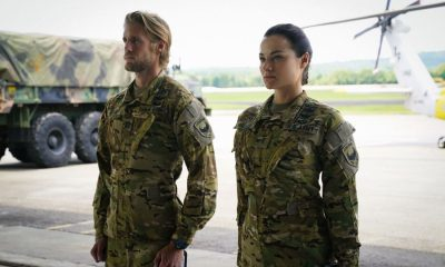 "Valor -- ""Esprit de Corps"" -- Image Number: VAL102a_0056.jpg -- Pictured (L-R): Matt Barr as Gallo and Christina Ochoa as Nora -- Photo: Quantrell Colbert/The CW -- © 2017 The CW Network, LLC. All Rights Reserved."