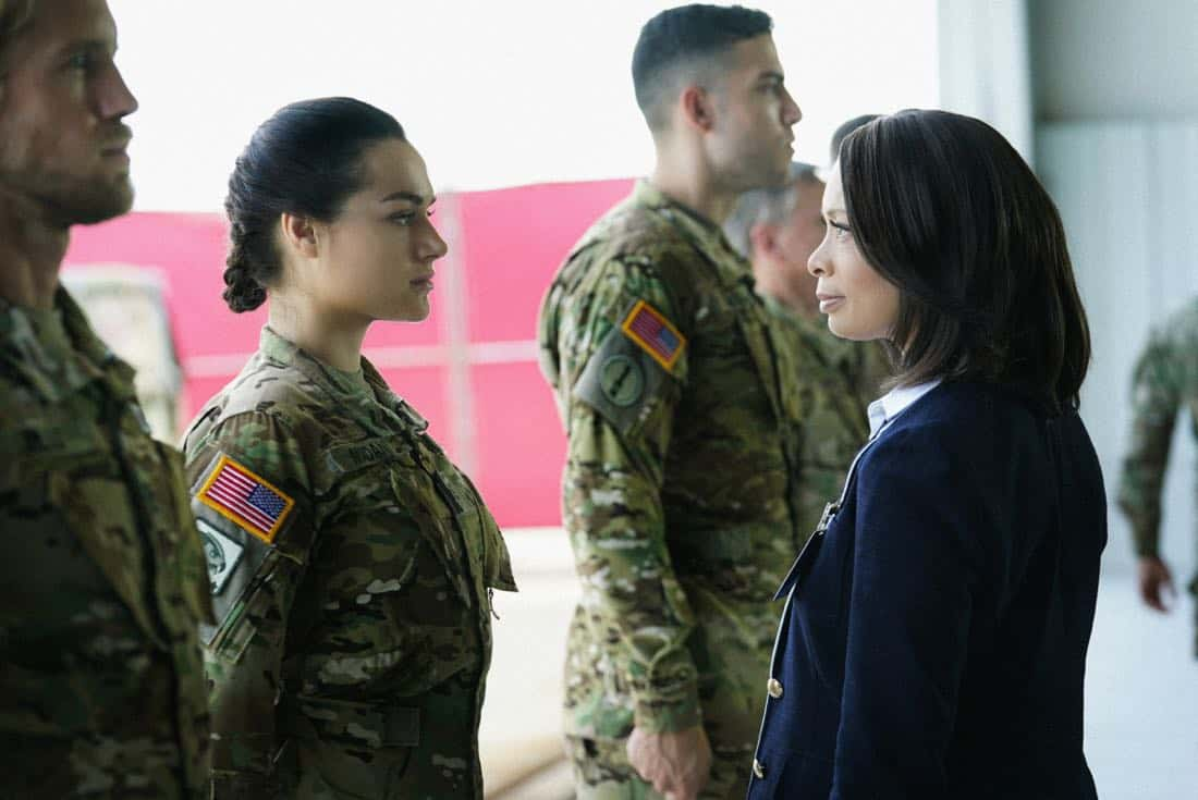 "Valor -- ""Esprit de Corps"" -- Image Number: VAL102a_0265.jpg -- Pictured (L-R): Christina Ochoa as Nora and Valarie Pettiford as Simone Porter -- Photo: Quantrell Colbert/The CW -- © 2017 The CW Network, LLC. All Rights Reserved."
