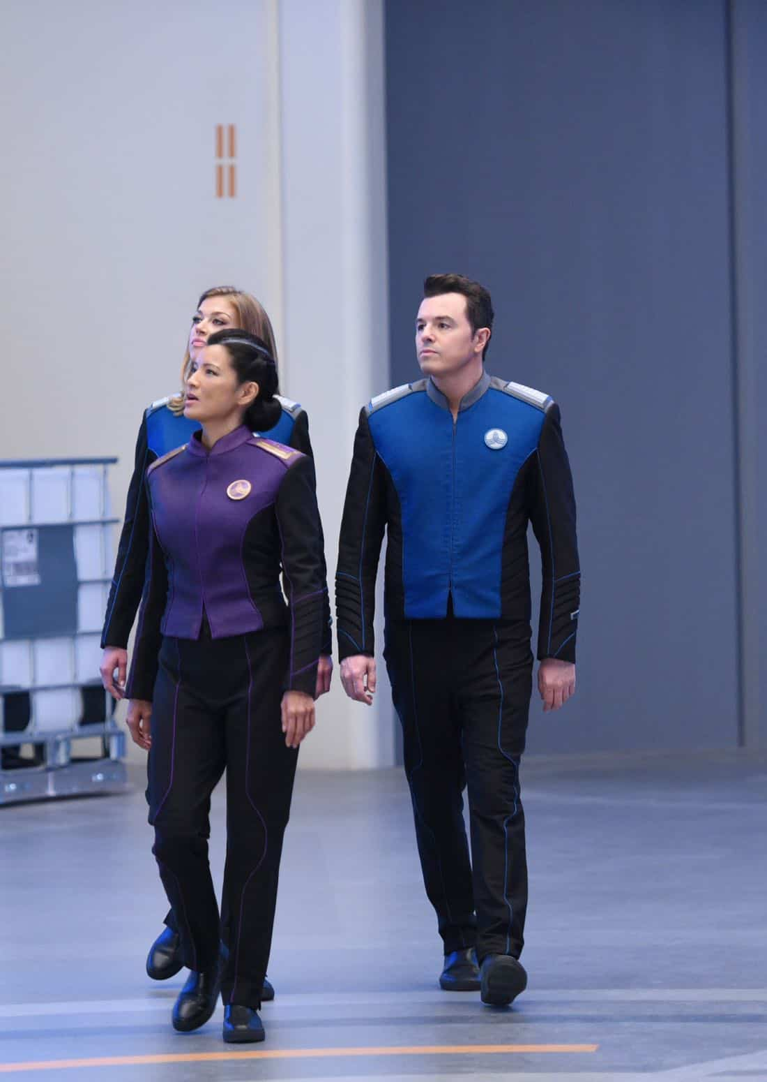 "THE ORVILLE:  L-R:  Adrianne Palicki, guest star Kelly Hu and Seth MacFarlane in the ""Krill"" episode of THE ORVILLE airing Thursday, Oct. 12 (9:01-10:00 PM ET/PT) on FOX.  ©2017 Fox Broadcasting Co.  Cr:  Michael Becker/FOX"