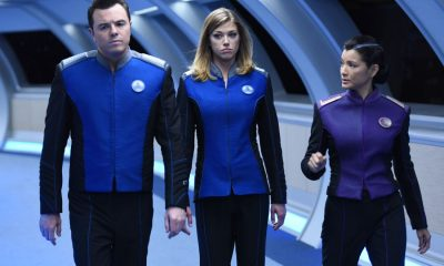 "THE ORVILLE: L-R: Seth MacFarlane, Adrianne Palicki and guest star Kelly Hu in the ""Krill"" episode of THE ORVILLE airing Thursday, Oct. 12 (9:01-10:00 PM ET/PT) on FOX. ©2017 Fox Broadcasting Co. Cr: Michael Becker/FOX"