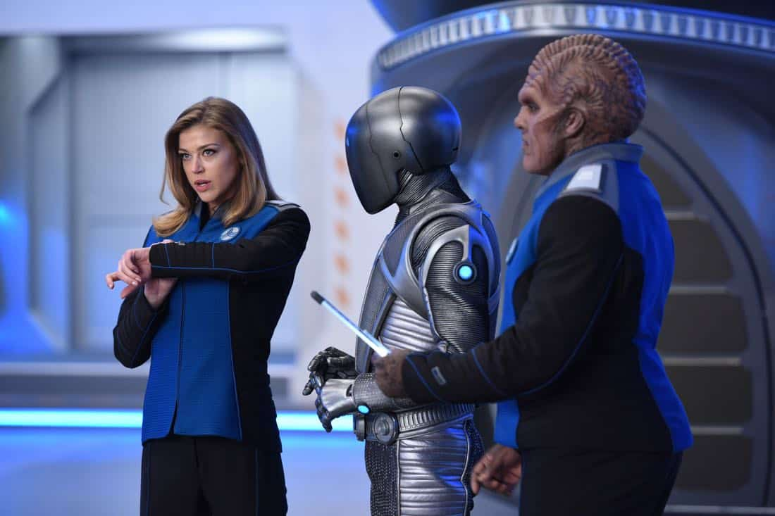 "THE ORVILLE:  L-R:  Adrianne Palicki, Mark Jackson and Peter Macon in the ""Krill"" episode of THE ORVILLE airing Thursday, Oct. 12 (9:01-10:00 PM ET/PT) on FOX.  ©2017 Fox Broadcasting Co.  Cr:  Michael Becker/FOX"
