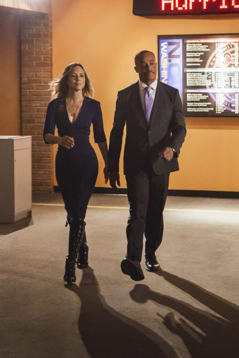 """Skeleton Crew"" -- Director Vance welcomes NCIS Special Agent Jacqueline ""Jack"" Sloane (Maria Bello), a forensic psychologist he lobbied to transfer from California, to headquarters. Also, in the midst of a storm that has shut down Washington, D.C. and knocked out power, the NCIS team investigates the kidnapping of a sailor, which sends Torres and Bishop out to sea to track evidence, on NCIS, Tuesday, Oct. 17 (8:00-9:00 PM, ET/PT) on the CBS Television Network. Pictured: Maria Bello, Rocky Carroll. Photo: Patrick Wymore/CBS ©2017 CBS Broadcasting, Inc. All Rights Reserved"