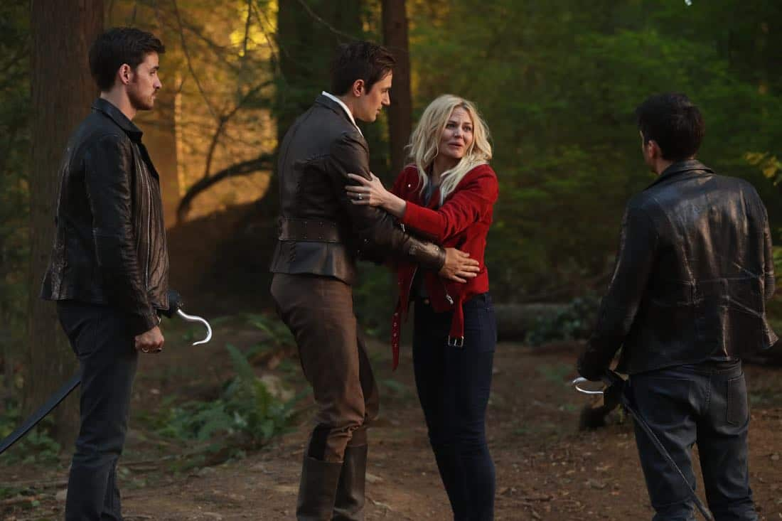 "ONCE UPON A TIME - ""A Pirate's Life"" - When Henry finds himself in trouble, he calls upon his Storybrooke family for help, and together they set off on a mission to find Cinderella. Along the way, Hook is confronted by an unexpected foe who threatens the group's success. In Hyperion Heights, Jacinda searches for a way to see Lucy with some unwelcome assistance from Henry, while Victoria Belfrey enlists the help of Gold and Weaver to push Henry out of the neighborhood, on ""Once Upon a Time,"" FRIDAY, OCTOBER 13 (8:00-9:01 p.m. EDT), on The ABC Television Network. (ABC/Jack Rowand) COLIN O'DONOGHUE, ANDREW J. WEST, JENNIFER MORRISON"