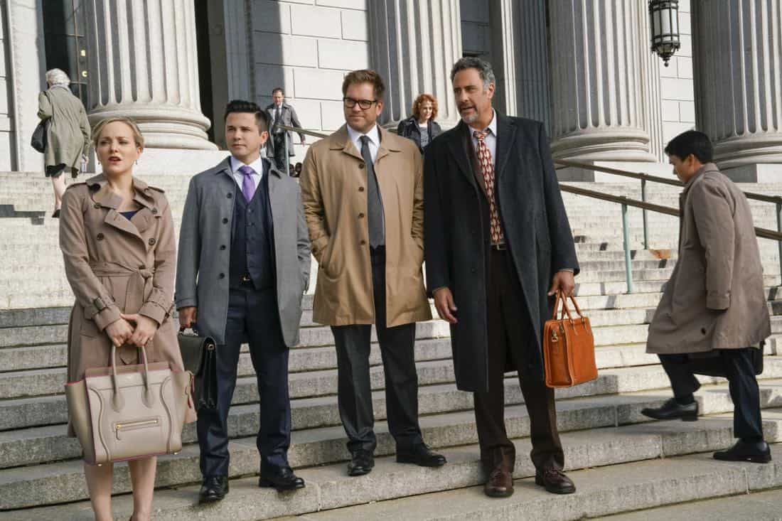 """The Illusion of Control""-- Bull hires an eccentric lawyer to represent him when a celebrity sues him after his advice regarding her custody case backfires, on BULL, Tuesday, Oct 17 (9:00-10:00 PM, ET/PT) on the CBS Television Network. Pictured L-R: Geneva Carr as Marissa Morgan, Freddy Rodriguez as Benny Colón, Michael Weatherly as Dr. Jason Bull, and Brad Garrett as Ron Getman Photo: John Paul Filo/CBS ©2017 CBS Broadcasting, Inc. All Rights Reserved"