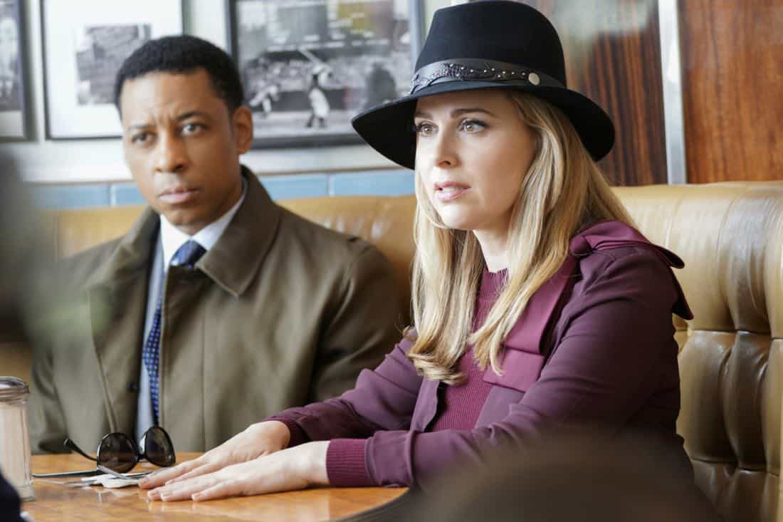 """The Illusion of Control""-- Bull hires an eccentric lawyer to represent him when a celebrity sues him after his advice regarding her custody case backfires, on BULL, Tuesday, Oct 17 (9:00-10:00 PM, ET/PT) on the CBS Television Network. Pictured L-R: Joe Holt as Kellan King and Cara Buono as Amaya Andrews Photo: John Paul Filo/CBS ©2017 CBS Broadcasting, Inc. All Rights Reserved"