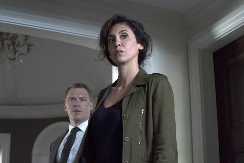 "THE BLACKLIST -- ""The Endling"" Episode 504 -- Pictured: (l-r) Diego Klattenhoff as Donald Ressler, Mozhan Marnò as Samar Navabi -- (Photo by: Virginia Sherwood/NBC)"