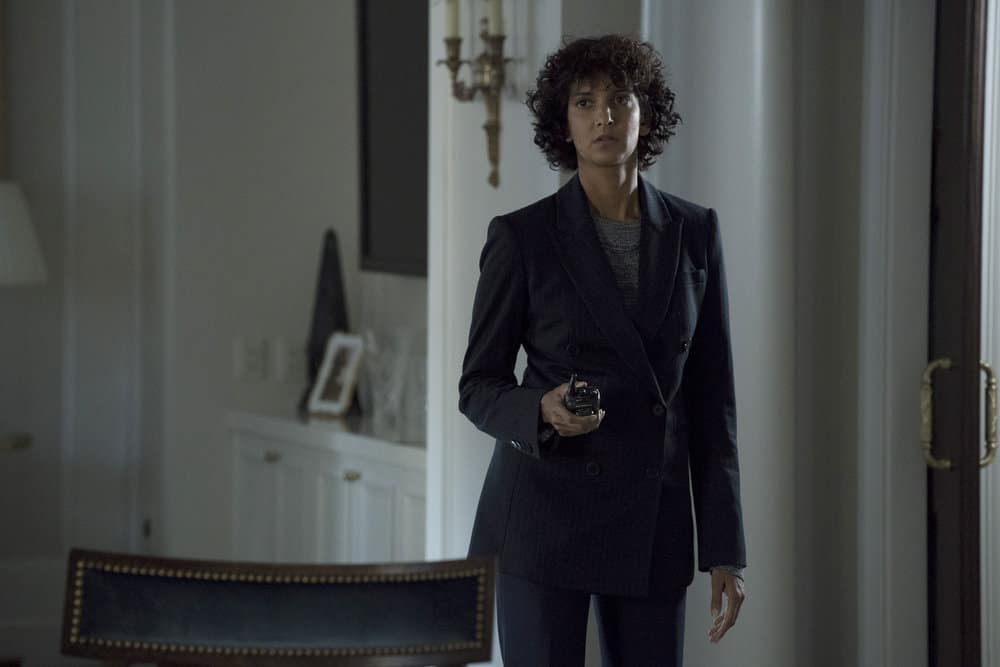 "THE BLACKLIST -- ""The Endling"" Episode 504 -- Pictured: Poorna Jagannathan as Nirah Ahmad -- (Photo by: Virginia Sherwood/NBC)"