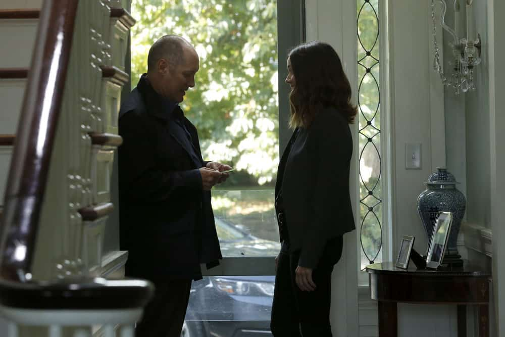 "THE BLACKLIST -- ""The Endling"" Episode 504 -- Pictured: (l-r) James Spader as Raymond ""Red"" Reddington, Megan Boone as Elizabeth Keen -- (Photo by: Will Hart/NBC)"
