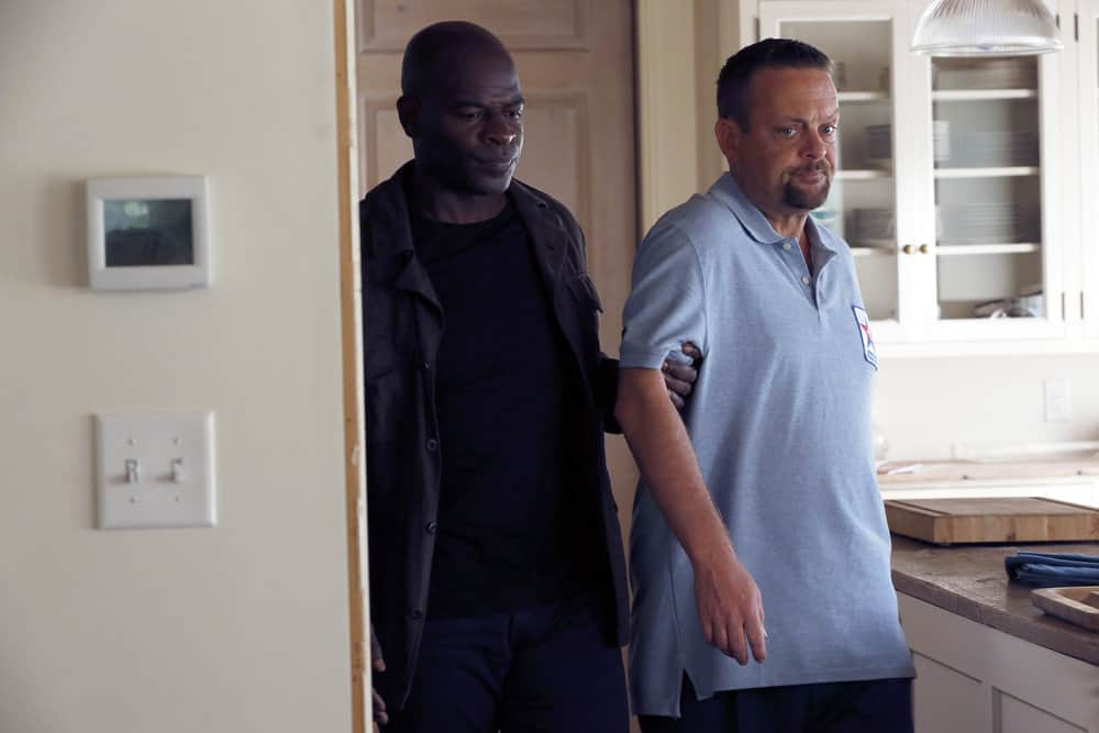 "THE BLACKLIST -- ""The Endling"" Episode 504 -- Pictured: (l-r) Hisham Tawfiq as Dembe Zuma, Lenny Venito as Tony Pagliaro -- (Photo by: Will Hart/NBC)"