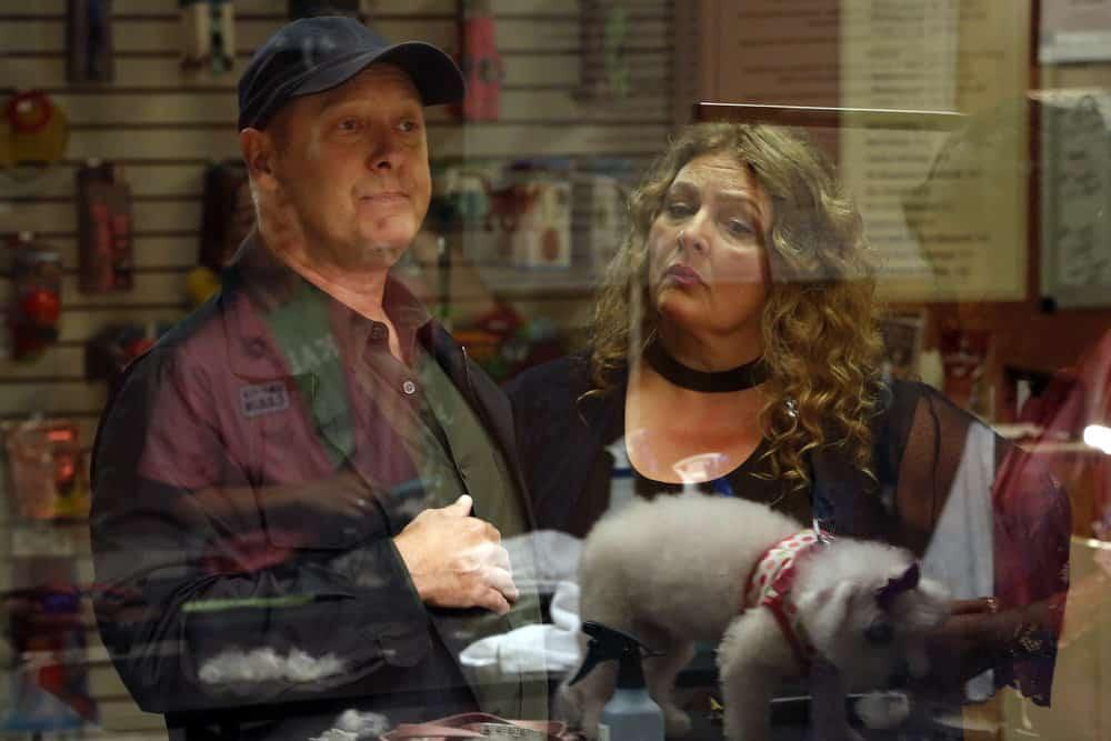 """THE BLACKLIST -- """"Ilyas Surkov (#54)"""" Episode 505 -- Pictured: (l-r) James Spader as Raymond """"Red"""" Reddington, Aida Turturro as Heddie Hawkins -- (Photo by: Will Hart/NBC)"""
