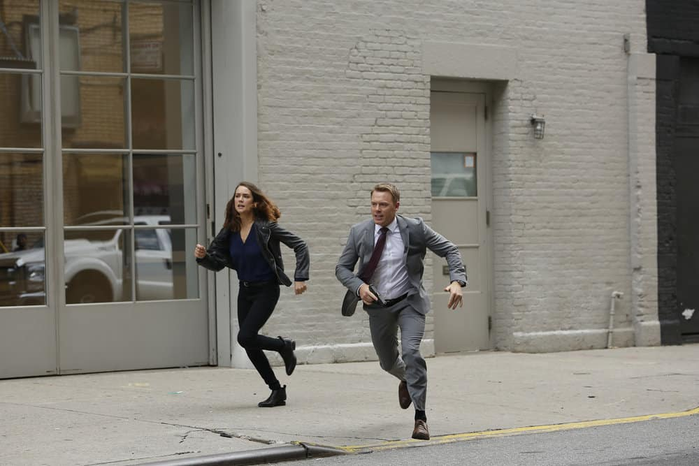 "THE BLACKLIST -- ""Ilyas Surkov (#54)"" Episode 505 -- Pictured: (l-r) Megan Boone as Elizabeth Keen, Diego Klattenhoff as Agent Donald Ressler -- (Photo by: Will Hart/NBC)"