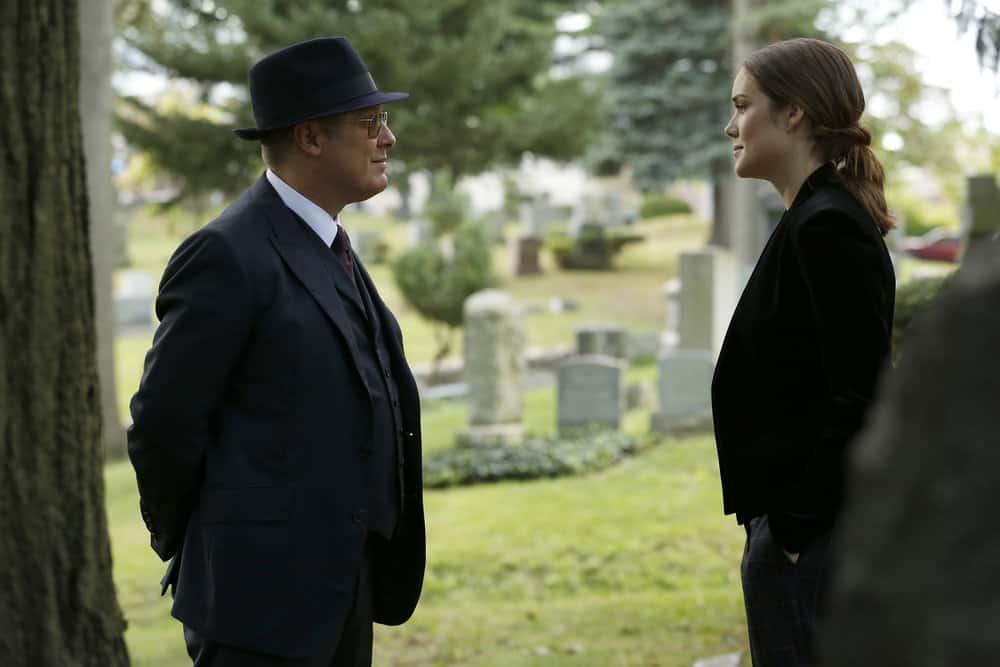 "THE BLACKLIST -- ""Ilyas Surkov (#54)"" Episode 505 -- Pictured: (l-r) James Spader as Raymond ""Red"" Reddington, Megan Boone as Elizabeth Keen -- (Photo by: Will Hart/NBC)"