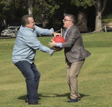 """MODERN FAMILY - """"Sex, Lies & Kickball"""" - Jay's best friend, Shorty, is back from Costa Rica and stays at the house so they can catch up and reconnect. However, Shorty is spending more time with Gloria and seems to be avoiding Jay. Meanwhile, Alex is ready to shed her good-girl image and is going to prove to Claire that her relationship with Ben is definitely a sexual relationship, on """"Modern Family,"""" WEDNESDAY, OCTOBER 18 (9:00-9:31 p.m. EDT), on The ABC Television Network. (ABC/Ron Tom) ERIC STONESTREET, NATHAN LANE"""