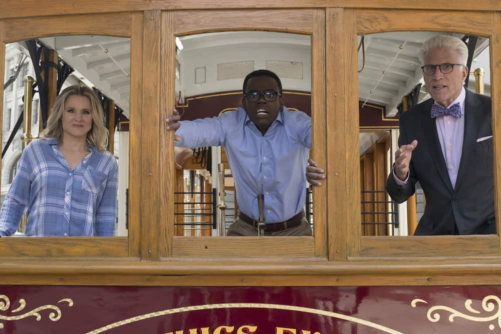 "THE GOOD PLACE -- ""The Trolley Problem"" Episode 206 -- Pictured: (l-r) Kristen Bell as Eleanor, William Jackson Harper as Chidi, Ted Danson as Michael -- (Photo by: Colleen Hayes/NBC)"