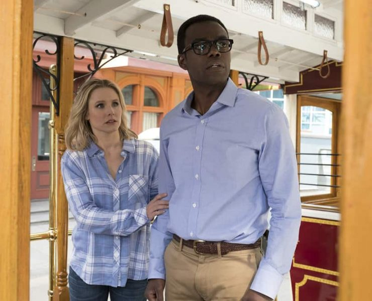 "THE GOOD PLACE -- ""The Trolley Problem"" Episode 206 -- Pictured: (l-r) Kristen Bell as Eleanor, William Jackson Harper as Chidi -- (Photo by: Colleen Hayes/NBC)"