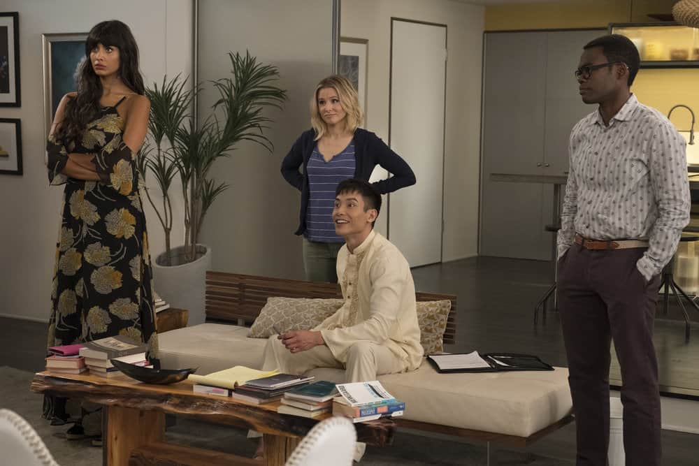 "THE GOOD PLACE -- ""The Trolley Problem"" Episode 206 -- Pictured: (l-r) Jameela Jamil as Tehani, Kristen Bell as Eleanor, Manny Jacinto as Jianyu, William Jackson Harper as Chidi -- (Photo by: Colleen Hayes/NBC)"