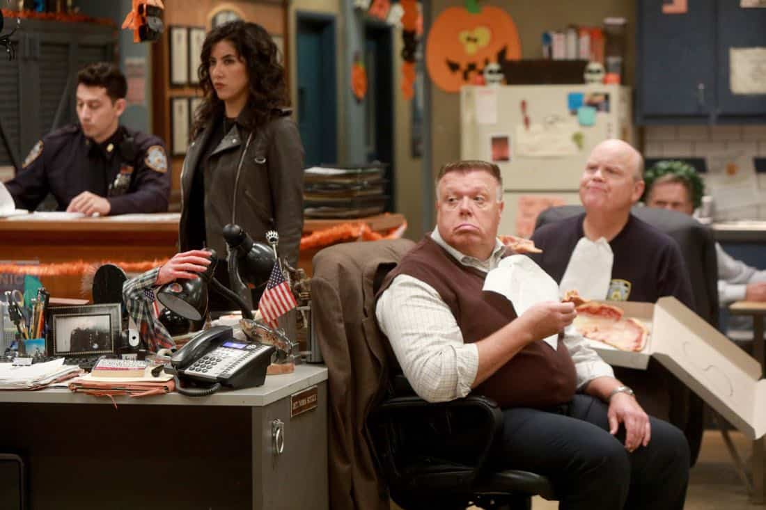 BROOKLYN NINE-NINE: L-R: Stephanie Beatriz, Joel McKinnon Miller and Dirk Blocker in the ???HalloVeen??? episode of BROOKLYN NINE-NINE airing Tuesday, Oct. 17 (9:30-10:00 PM ET/PT) on FOX. CR: JORDIN ALTHAUS/FOX