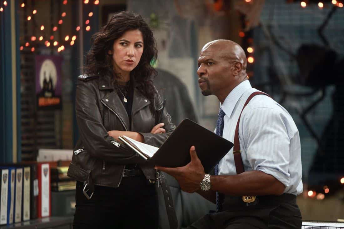 "BROOKLYN NINE-NINE: L-R: Stephanie Beatriz and Terry Crews in the ""HalloVeen"" episode of BROOKLYN NINE-NINE airing Tuesday, Oct. 17 (9:30-10:00 PM ET/PT) on FOX. CR: JORDIN ALTHAUS/FOX"