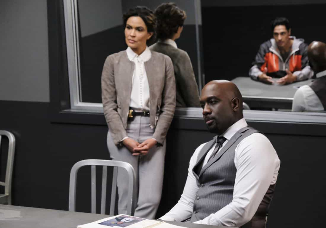 """""""User Bias"""" -- Pictured: Ion Overman as Elena Ruiz and Richard T. Jones as Detective Tommy Cavanaugh. The San Francisco P.D. comes to Tanner to get Sophe's help on a politically charged murder case following a rally in the city, on WISDOM OF THE CROWD, Sunday, Oct. 22 (8:30-9:30 PM, ET/8:00-9:00 PM, PT) on the CBS Television Network. Photo: Darren Michaels/CBS ©2017 CBS Broadcasting, Inc. All Rights Reserved."""