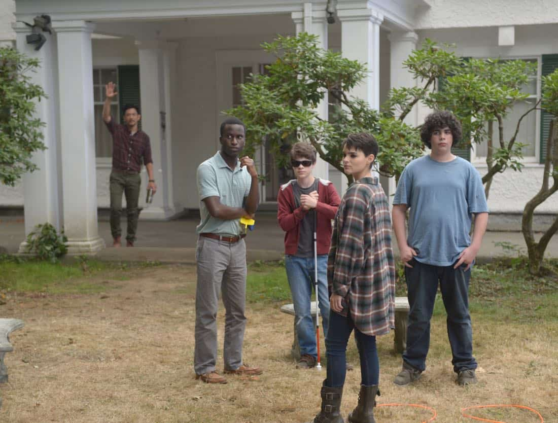 """THE EXORCIST:  L-R:  John Cho, guest star Alex Barima, guest star Hunter Dillon, Brianna Hildebrand and guest star Cyrus Arnold in the """"One For Sorrow"""" episode of THE EXORCIST airing Friday, Oct. 20 (9:01-10:00 PM ET/PT) on FOX.  ©2017 Fox Broadcasting Co.  Cr:  Sergei Bachlakov/FOX"""