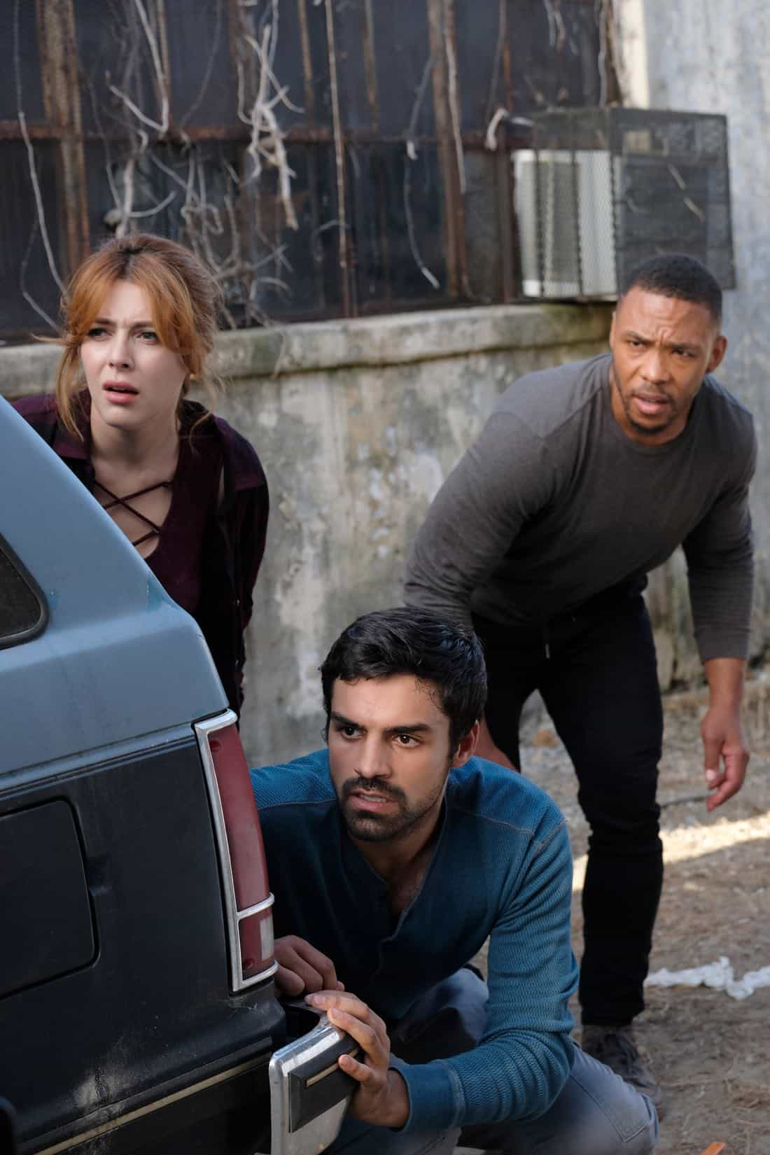 "THE GIFTED:  L-R:  Guest star Elena Satine, Sean Teale and guest star Defek James Jones in the ""eXit strategy"" episode of THE GIFTED airing Monday, Oct. 23 (9:00-10:00 PM ET/PT) on FOX.  ©2017 Fox Broadcasting Co.  Cr:  Eliza Morse/FOX"