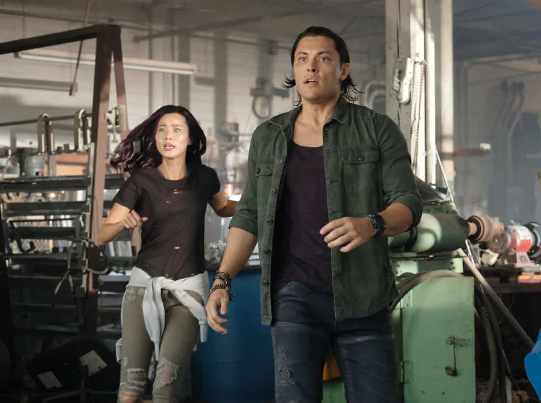 "THE GIFTED:  Jamie Chung and Blair Redford in the ""eXit strategy"" episode of THE GIFTED airing Monday, Oct. 23 (9:00-10:00 PM ET/PT) on FOX.  ©2017 Fox Broadcasting Co.  Cr:  Eliza Morse/FOX"