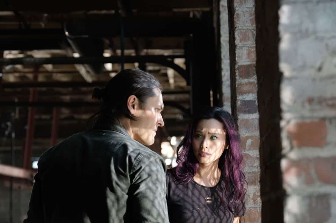 "THE GIFTED:  L-R:  Blair Redford and Jamie Chung in the ""eXit strategy"" episode of THE GIFTED airing Monday, Oct. 23 (9:00-10:00 PM ET/PT) on FOX.  ©2017 Fox Broadcasting Co.  Cr:  Eliza Morse/FOX"
