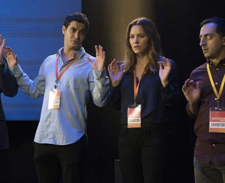 """""""Sci Hard"""" -- While attending a tech convention, Team Scorpion is taken hostage by a group attempting a virtual heist, on SCORPION, Monday, Oct. 23 (10:00-11:00 PM, ET/PT) on the CBS Television Network. Pictured: Elyes Gabel, Katharine McPhee, Amir Talai. Photo: Bill Inoshita/CBS ©2017 CBS Broadcasting, Inc. All Rights Reserved"""
