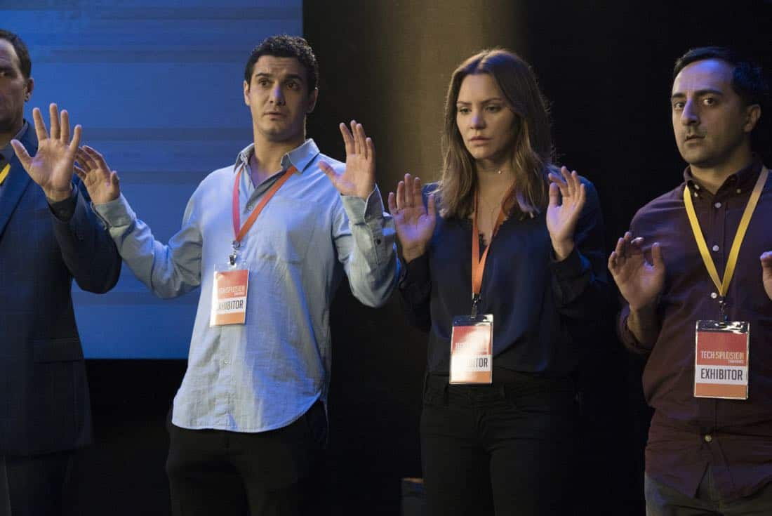 """Sci Hard"" -- While attending a tech convention, Team Scorpion is taken hostage by a group attempting a virtual heist, on SCORPION, Monday, Oct. 23 (10:00-11:00 PM, ET/PT) on the CBS Television Network. Pictured: Elyes Gabel, Katharine McPhee, Amir Talai.   Photo: Bill Inoshita/CBS ©2017 CBS Broadcasting, Inc. All Rights Reserved"