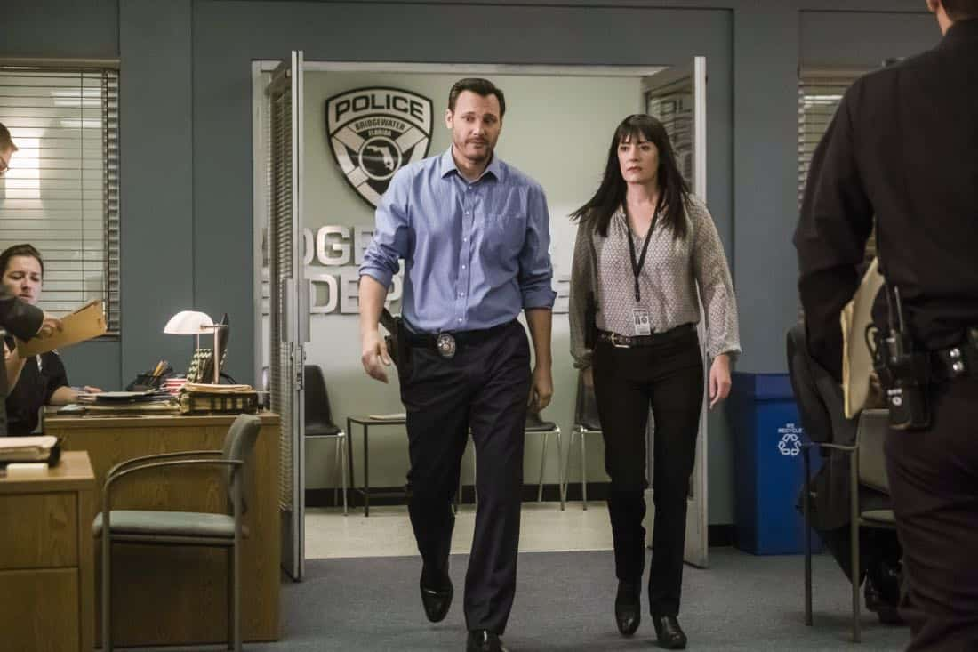 """""""Lucky Strikes"""" -- When Garcia experiences anxiety over a case that's personal to her from her past, Morgan visits to lend emotional support, on CRIMINAL MINDS, Wednesday, Oct. 25 (10:00-11:00 PM, ET/PT) on the CBS Television Network.  Pictured: Mark Gantt (Detective Alex Russ), Paget Brewster (Emily Prentiss)   Photo: Darren Michaels/CBS ©2017 CBS Broadcasting, Inc. All Rights Reserved"""