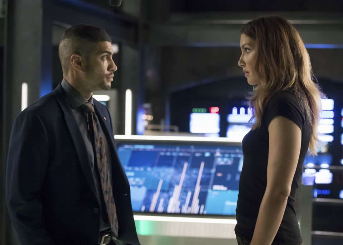 "Arrow -- ""Next of Kin"" -- Image AR603b_0038b.jpg -- Pictured (L-R): Rick Gonzalez as Rene Ramirez/Wild Dog and Juliana Harkavy as Dinah Drake/Black Canary -- Photo: Jack Rowand/The CW -- © 2017 The CW Network, LLC. All Rights Reserved."