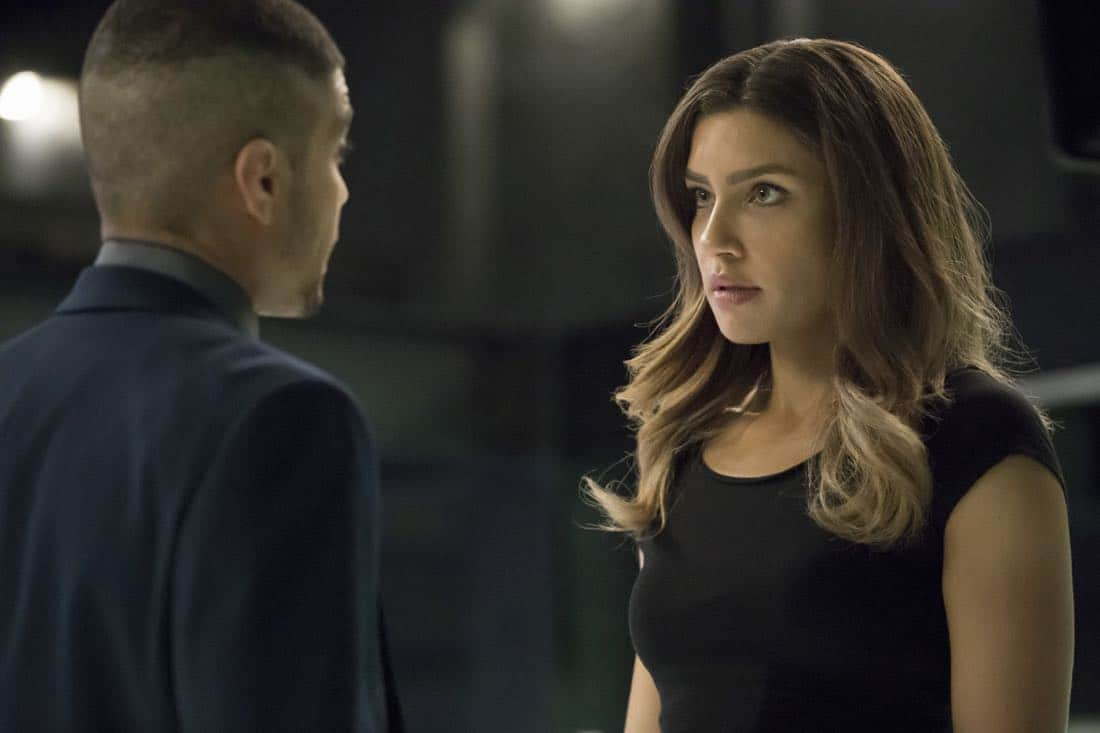 "Arrow -- ""Next of Kin"" -- Image AR603b_0006b.jpg -- Pictured (L-R): Rick Gonzalez as Rene Ramirez/Wild Dog and Juliana Harkavy as Dinah Drake/Black Canary -- Photo: Jack Rowand/The CW -- © 2017 The CW Network, LLC. All Rights Reserved."