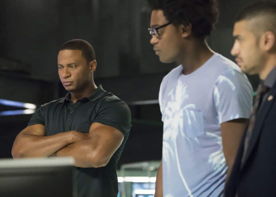 "Arrow -- ""Next of Kin"" -- Image AR603b_0011b.jpg --Pictured (L-R): David Ramsey as John Diggle/Spartan, Echo Kellum as Curtis Holt/Mr.Terrific, and Rick Gonzalez as Rene Ramirez/Wild -- Photo: Jack Rowand/The CW -- © 2017 The CW Network, LLC. All Rights Reserved."