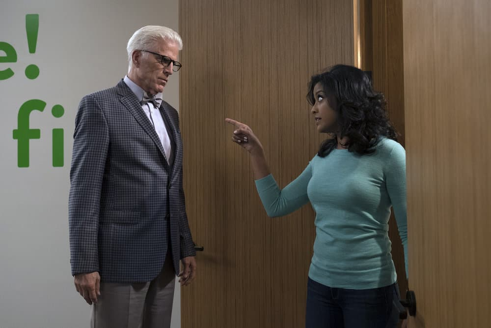 """THE GOOD PLACE -- """"Janet and Michael"""" Episode 207 -- Pictured: (l-r) Ted Danson as Michael, Tiya Sircar as Vicky -- (Photo by: Colleen Hayes/NBC)"""