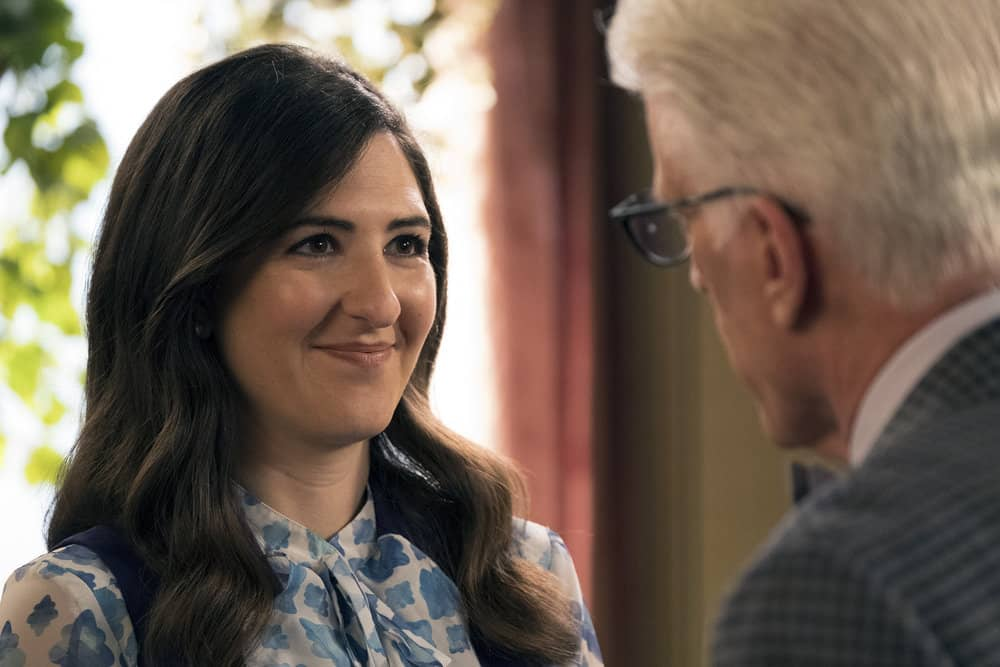 """THE GOOD PLACE -- """"Janet and Michael"""" Episode 207 -- Pictured: (l-r) D'Arcy Carden as Janet, Ted Danson as Michael -- (Photo by: Colleen Hayes/NBC)"""