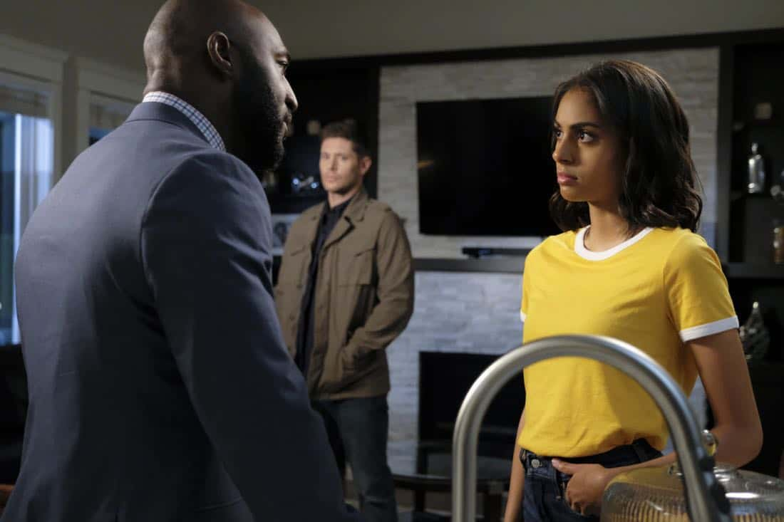 """Supernatural -- """"Patience"""" -- Image Number: SN1303a_0525b.jpg -- Pictured (L-R): Adrian Holmes as James, Jensen Ackles as Dean and Clark Backo as Patience -- Photo: Bettina Strauss/The CW -- © 2017 The CW Network, LLC All Rights Reserved."""