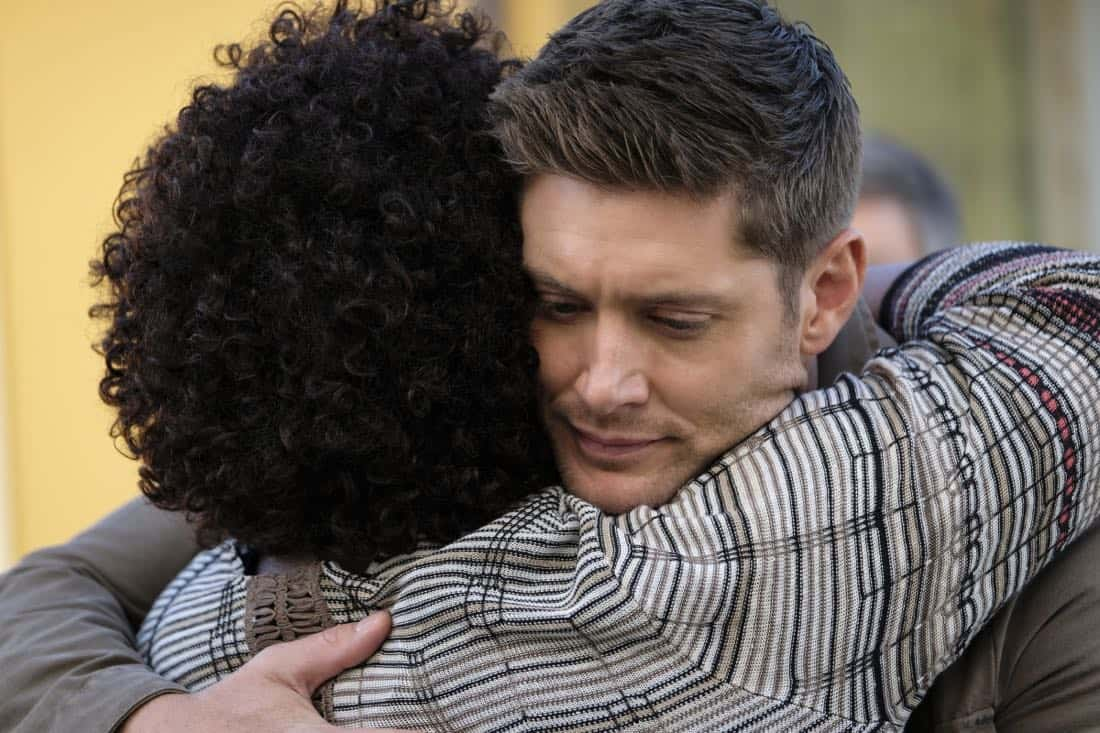 """Supernatural -- """"Patience"""" -- Image Number: SN1303b_0263b.jpg -- Pictured (L-R): Loretta Devine as Missouri and Jensen Ackles as Dean -- Photo: Bettina Strauss/The CW -- © 2017 The CW Network, LLC All Rights Reserved."""