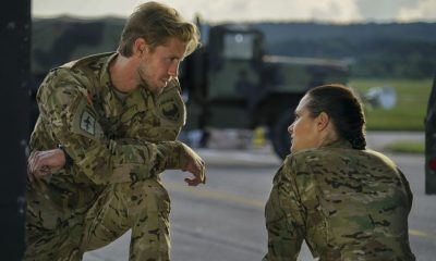 "Valor -- ""Soldier Ready"" -- Image Number: VAL103b_0222.jpg -- Pictured (L-R): Matt Barr as Gallo and Christina Ochoa as Nora -- Photo: Annette Brown/The CW -- © 2017 The CW Network, LLC. All Rights Reserved."
