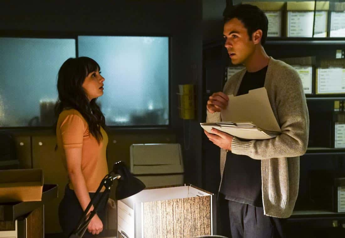 """""""Clear History"""" -- Pictured: Hannah Marks as Prudence Shaw and Blake Lee as Josh Novak. Tanner's previous company claims Sophe was created using their copyrighted codes and legally threatens to shut down the organization.  Also, Cavanaugh works with Tanner to solve the murder of a retired detective after his boss removes him from the case due to a personal connection with the family, on WISDOM OF THE CROWD, Sunday, Oct. 29 (8:00-9:00 PM, ET/PT), on the CBS Television Network. Photo: Sonja Flemming/CBS ©2017 CBS Broadcasting, Inc. All Rights Reserved."""
