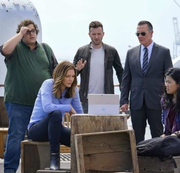 """""""Queen Scary"""" -- At Halloween, Team Scorpion takes on a case to prove the existence of ghosts on the Queen Mary but find an all-too-real disaster when they locate a """"ghost ship"""" on a deadly collision course. Also, Walter considers taking note of Paige's interests to benefit their relationship, on SCORPION, Monday, Oct. 30 (10:00-11:00 PM, ET/PT) on the CBS Television Network. Pictured: Ari Stidham, Katharine McPhee, Eddie Kaye Thomas, Robert Patrick, Jadyn Wong . Photo: Cliff Lipson/CBS ©2017 CBS Broadcasting, Inc. All Rights Reserved"""