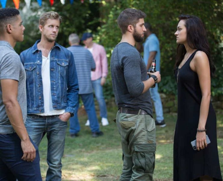"""Valor -- """"Zero Visibility"""" -- Image Number: VAL104a_0319.jpg -- Pictured (L-R): Charlie Barnett as Ian, Matt Barr as Gallo, Bryan Craig as Adam Coogan and Christina Ochoa as Nora -- Photo: Erika Doss/The CW -- © 2017 The CW Network, LLC. All Rights Reserved."""