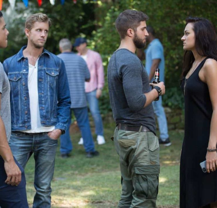 "Valor -- ""Zero Visibility"" -- Image Number: VAL104a_0319.jpg -- Pictured (L-R): Charlie Barnett as Ian, Matt Barr as Gallo, Bryan Craig as Adam Coogan and Christina Ochoa as Nora -- Photo: Erika Doss/The CW -- © 2017 The CW Network, LLC. All Rights Reserved."