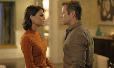 "Dynasty -- ""Private as a Circus"" -- Image Number: DYN104c_0557b2.jpg -- Pictured (L-R): Nathalie Kelley as Cristal and Grant Show as Blake -- Photo: Mark Hill/The CW -- © 2017 The CW Network, LLC. All Rights Reserved."
