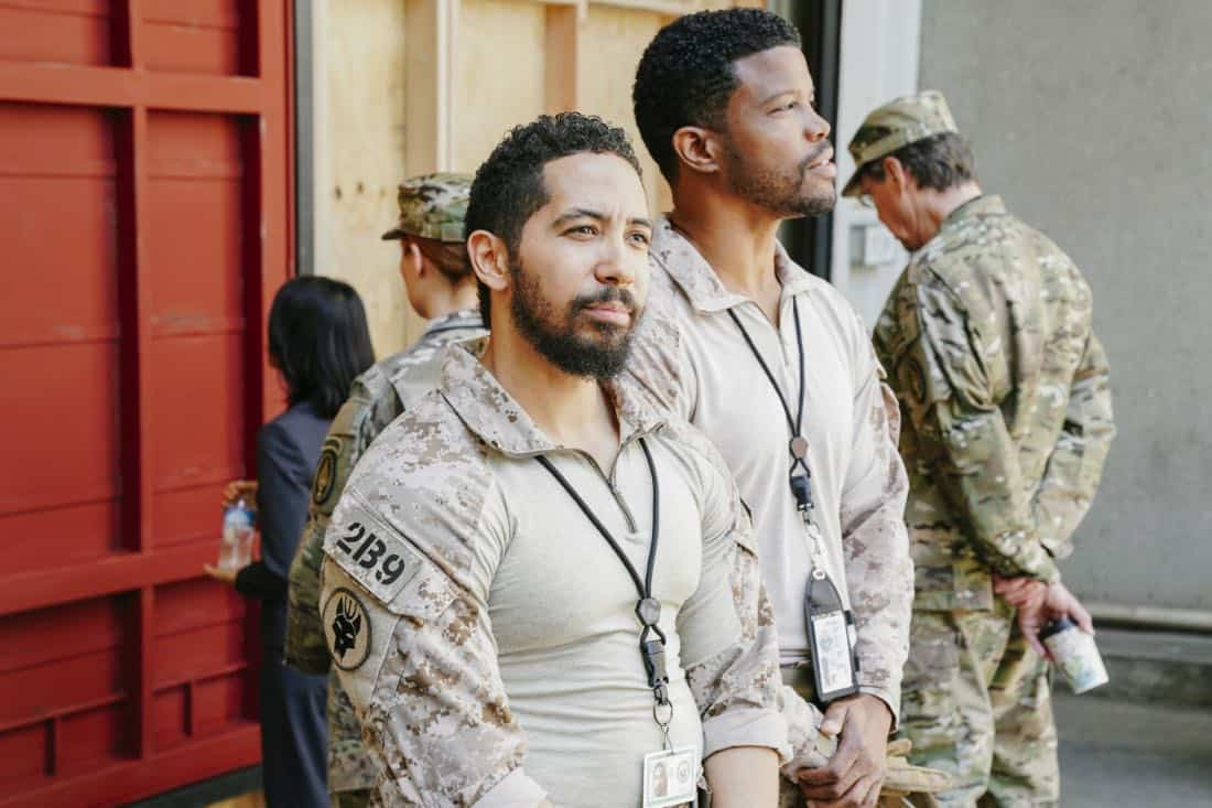 """The Spinning Wheel"" -- The SEAL Team must work with Jason's longtime rival, Beau Fuller (Sharif Atkins), and his team to plan and perfect a raid under the watchful eye of top military brass. Also, Clay delivers solemn news to a teammate's next of kin, on SEAL TEAM, Wednesday, Nov. 1 (9:00-10:00 PM, ET/PT) on the CBS Television Network. Pictured: Neil Brown Jr. as Ray Perry. Photo: Erik Voake/CBS ©2017 CBS Broadcasting, Inc. All Rights Reserved"