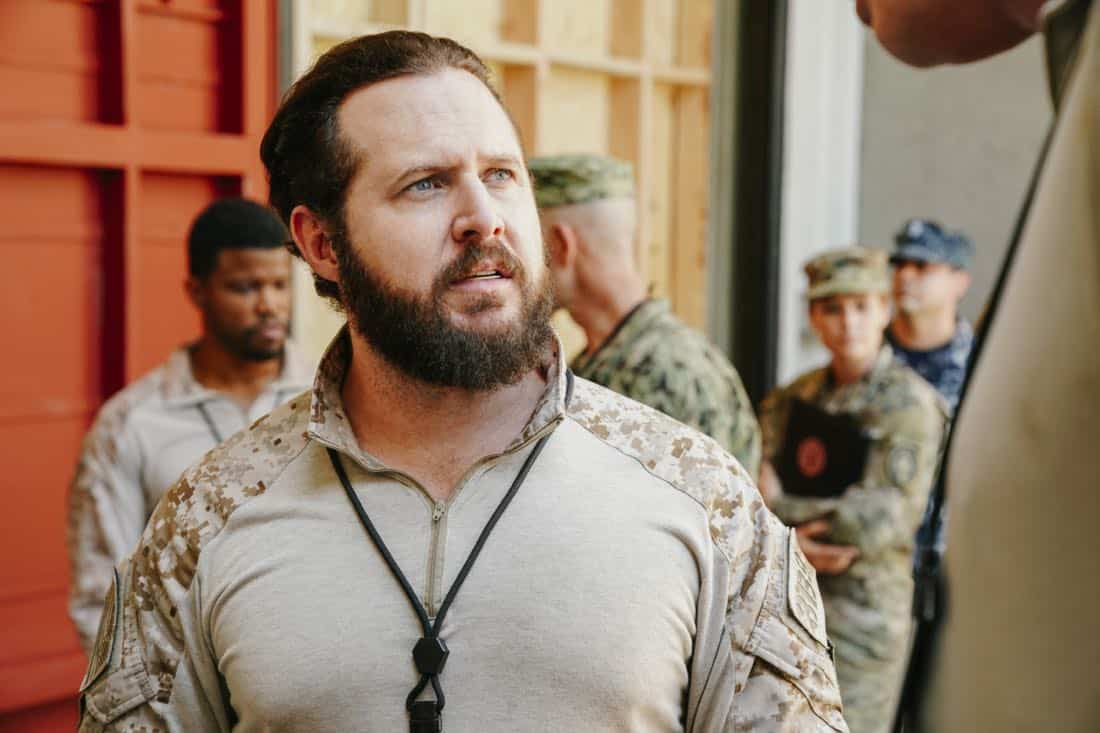 """The Spinning Wheel"" -- The SEAL Team must work with Jason's longtime rival, Beau Fuller (Sharif Atkins), and his team to plan and perfect a raid under the watchful eye of top military brass. Also, Clay delivers solemn news to a teammate's next of kin, on SEAL TEAM, Wednesday, Nov. 1 (9:00-10:00 PM, ET/PT) on the CBS Television Network. Pictured: AJ Buckley as Sonny Quinn. Photo: Erik Voake/CBS ©2017 CBS Broadcasting, Inc. All Rights Reserved"